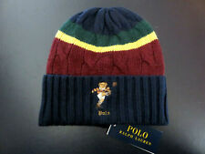 Polo RALPH LAUREN Beanie Skully Cuff Hat Colorblocked Polo Rugby Bear