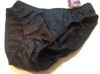 Women Panties,Bikinis ILUSION Size M Black Double Front Protect Floral W//fishnet