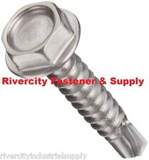 (100) Hex Washer Head #8 x 1 Self-Drilling Tek Screw #2 point Stainless Steel