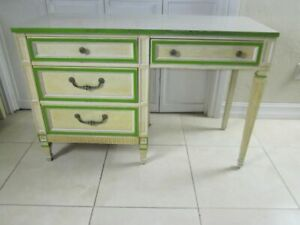 Vintage Mid Century Desk By Stanley Four Drawer Ivory And Green