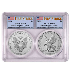 2021 $1 Type 1 and Type 2 Silver Eagle Set PCGS MS70 FS Flag Label