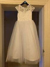 Girls White Lace Tulle Dress/ Holy Communion/ Flower Girl/ Christening Age 4-5