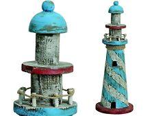 2 Pcs Lighthouse Wood 37 x 12 cm Deco Martim Lighthouse Blue White Garden