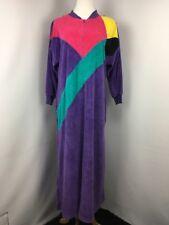 VINTAGE DAVID BROWN for I. MAGNIN Sz M Colorblock Velour Zip Lounge Dress Robe
