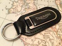 Triumph Imprimé Noir Qualité Véritable Cuir Noir Porte-Clés Moto