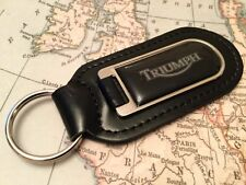 TRIUMPH PRINTED black  Quality Black Real Leather Keyring MOTORCYCLE MOTORBIKE