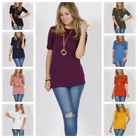 Women Casual Soft Cotton Crew-Neck Short Sleeve Tunic Top S M L XL 1X 2X 3X