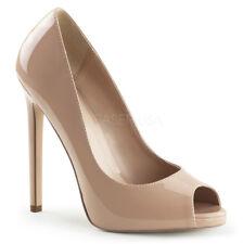 "5"" Nude Peep Toe Heels Drag Crossdresser Classic Pumps Shoes Woman size 12 13 14"