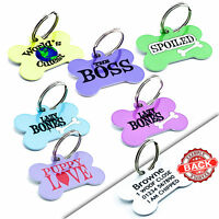 PET ID TAGS Metal Dog Cat Tag Name ID Discs - Engraved FREE -Colour Cute Designs