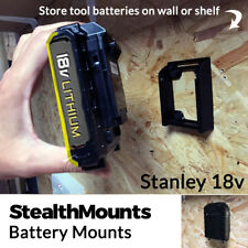 5x Stealth Mounts for Stanley Fat Max 18v Battery Holder Mount Slot Wall Drill