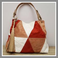 Prix mini sac à main aspect daim coloris marron brique blanc cassé bandoulière