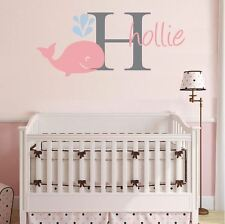 wall stickers custom name whale colour large kids baby vinyl decal decor Nursery