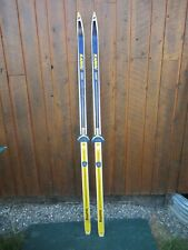 "GREAT OLD 73"" Wooden Skis With Original BLUE YELLOW and WHITE Finish + Bindings"