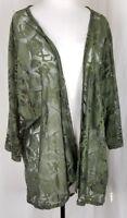 Women's LULAROE Lindsay Floral Cover Kimono Lace Green Size Large