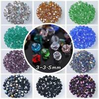 200pcs 3mm Bicone Faceted Crystal Glass Loose Spacer Beads lot Jewelry Making