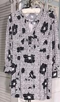 NEW Plus Size 2X Black Floral Pin Tuck Top Jersey Shirt Blouse