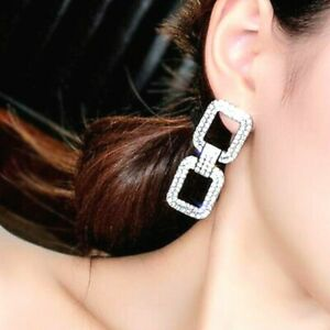 Womens Long Drop Rhinestone Crystal Earrings Silver Gold Double Square Big Bling