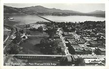 c1940 Rppc Postcard H-73 Sandpoint Id Main Street & 2-Mile Bridge Bonner Co Hall