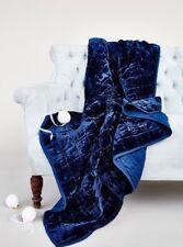NWT Free People Cloud Nine Velvet Blanket Throw in Blue 50x70