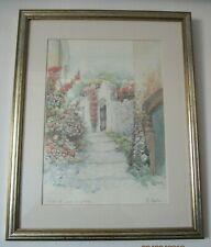 Framed Picture, 'Vicolo Di Paese In Fiore', Italian Artist M Marten, 39cm x 49cm
