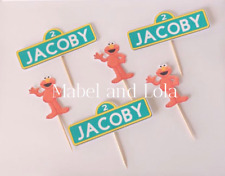 Personalized Sesame Street Sign Cupcake Toppers Themed Birthday Party