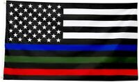 3x5FT Flag Thin Blue Green Red Line USA Banner Police Firefighters Military Hero