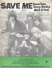 Save Me - Dave Dee, Dozy, Beaky, Mick & Tich - 1966 Sheet Music