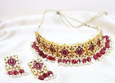 PEARL KUNDAN WOMENINDIAN BOLLYWOOD YELLOW RED CHOKER NECKLACE SETBRIDAL JEWELRY