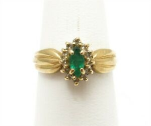 14K Yellow Gold Marquise Emerald Diamond Accent Halo Style Ring Size 7