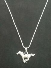 Silver Horse Necklace Pendant on Sterling Silver Chain Two Sided Running Horse