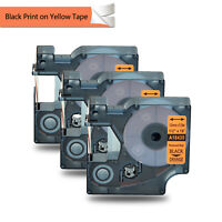 "3PK 1/2"" Black Print on Orange IND Vinyl Label 18435 for Dymo Rhino 3000 5000"