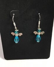 Angel Earrings Blue Swarovski Crystal Handmade 925 Authentic Starling Silver