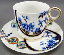 Royal Worcester B315 Cobalt & Multi Color Aesthetic Coffee Cup & Saucer C 1878 B