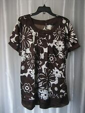 Antilia Femme Junior Size Brown & White Floral Short Sleeve Dress Sz 1X NWNT