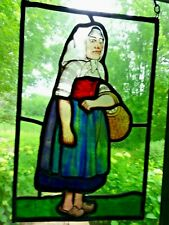 ANTIQUE LEADED STAINED GLASS WINDOW PANEL, PAINTED WOMAN WITH MARKET BASKET