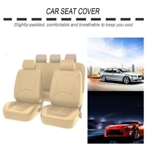 9Pcs PU Leather Seat Covers Full Set Interior Accessories Fit For Car SUV Truck