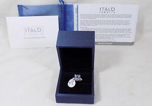 ITALO THREE STONE EMERALD CREATED WHITE SAPPHIRE ENGAGEMENT RING Size 7