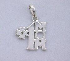 Sterling Silver .925 Pure  Number # 1 Mom Pendant 9/10 Inch x 3/5 Inch ebs3589