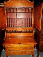 Antique Federal Cherry Secretary Desk Circa 1790 Ct. Inlaid On Bracket Base