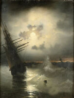 Dream-art Oil painting Seascape sail boat with ocean waves in sunset view canvas