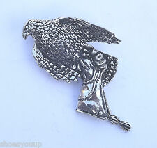 Hawk / Falcon On The Glove Hand Made in Uk Pewter Lapel Pin Badge