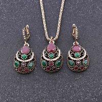 Cristal Faux Diamant Résine Boucles d'Oreilles Pendentifs Collier Bijoux Set