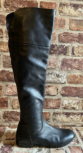 CLARKS 'Loch Erin' Leather Knee/over Knee Boots, Flat, Size 5 D