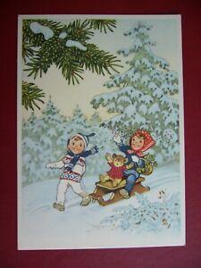 Fritz Baumgarten Weihnachten Kinder mit Schlitten Teddy