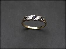 Sapphire & Diamond Ring Simulants 1/2 eternity size M 9ct Gold B/ham HM c1992