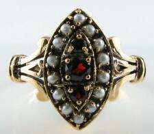 BEAUTIFUL 9K 9CT GARNET & SEED PEARL ART DECO NS MARQUISE RING FREE RESIZE