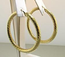Italian Made 14 Kt Yellow Gold Large Diamond Cut Hoops Earrings
