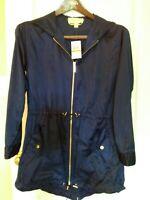 NEW  Michael Kors Hooded Zip Front Anorak Jacket Rain Coat Blue SZ S Lightweight