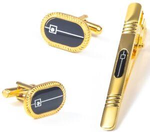 GOLD BLACK CUFF LINKS TIE CLIP PIN SET GROOM WEDDING FAVOUR BOX GIFT NEW UK GL16