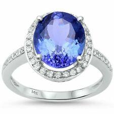 14k White Gold Diamond and Tanzanite Ring Size 6.5